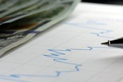 Financial graph used for accounting, analyzing or stock market trading Royalty Free Stock Image