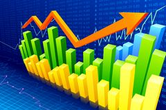 Financial Graph. Vector illustration of financial bar graph with rising arrow Royalty Free Stock Image