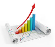 Financial graphics. With rising arrow pointing good sales Stock Photography