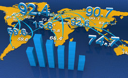 Financial graphs. World map with financial data Stock Images