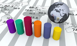 Financial graphs. Financial bar graph with globe Stock Image