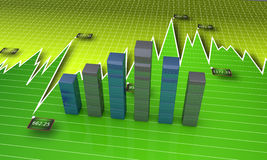 Financial graphs. Business bar graph with financial data Royalty Free Stock Photos