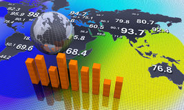 Financial graphs. World map with arrows. Financial data Royalty Free Stock Images