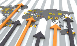 Financial graphs. World map with arrows. Financial data Royalty Free Stock Photography