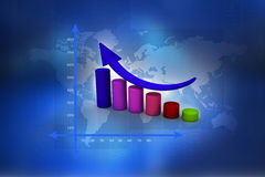 Financial graphs. In abstract background Stock Image