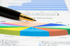 Financial graphs analysis Stock Images