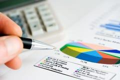 Financial graphs analysis Stock Photos