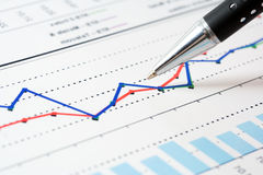 Financial graphs analysis Stock Image