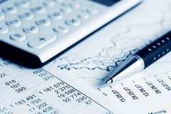 Financial accounting stock market graphs and charts. Analysis Stock Photography