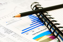 Financial graphs and charts accounting Royalty Free Stock Photo