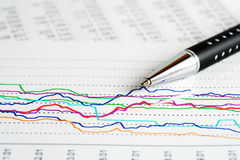 Financial graphs analysis and accounting Royalty Free Stock Photo