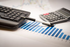 Financial graphs analysis. Financial accounting concept with graphs and charts Stock Photo