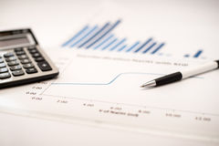 Financial graphs analysis. Financial accounting concept with graphs and charts Stock Image