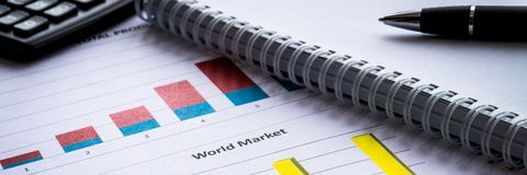 Financial graphs analysis. Business banner composition stock images