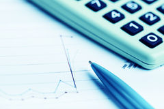 Financial graphs analysis Stock Photography