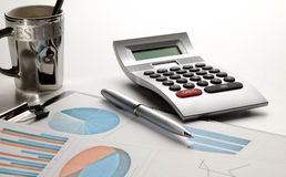 Financial graphs analysis front view Royalty Free Stock Image