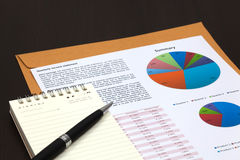 Financial graphs analysis. On table Stock Image