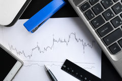 Financial graphs analysis Royalty Free Stock Images