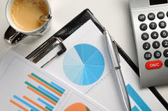 Financial graphs analysis top view Stock Photography
