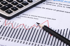 Financial graphs and charts. Financial charts and graphs with calculator, pencil Royalty Free Stock Photo