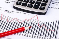 Financial graphs and charts. Financial charts and graphs with calculator, pencil Royalty Free Stock Photography