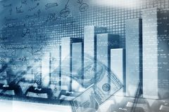 Financial graphs and charts. Shows business growth, background image Stock Photo