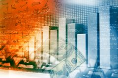 Financial graphs and charts. Shows business growth, background image Royalty Free Stock Image