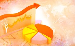 Financial graphs and charts. Shows business growth, background image Royalty Free Stock Photo