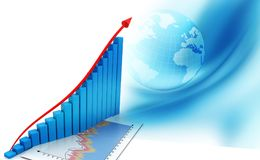 Financial graphs and charts. Shows business growth, background image Royalty Free Stock Photography