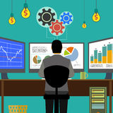Financial graphs and charts. Monitor computer, work place broker Royalty Free Stock Photo