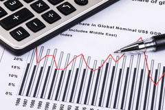 Financial graphs and charts. Financial charts and graphs on paper Royalty Free Stock Image