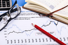 Financial graphs and charts. Financial charts and graphs on paper Stock Images