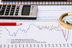 Financial graphs and charts. Financial charts and graphs on paper Stock Photography
