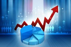Financial graphs and charts show business growth. Background image. 3d render Stock Photography