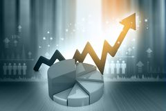 Financial graphs and charts show business growth. Background image. 3d render Royalty Free Stock Photos