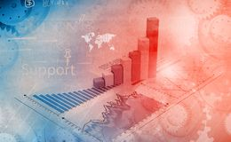 Financial graphs and charts. Shows business growth, background image Royalty Free Stock Images
