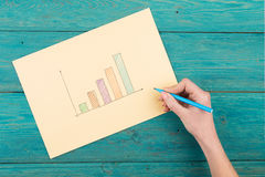 Financial graphs drawn with colored pens Royalty Free Stock Photo