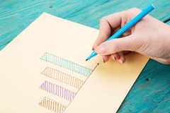 Financial graphs drawn with colored pens Stock Images