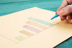 Financial graphs drawn with colored pens Stock Photography