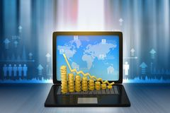 Financial graphs with laptop show business growth. 3d render Royalty Free Stock Photo