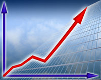 Financial Growth. Illustration depicting financial growth on background sky Stock Photos