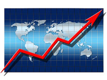 Financial Growth. Illustration depicting financial growth. arrow on blue globe background Stock Photo