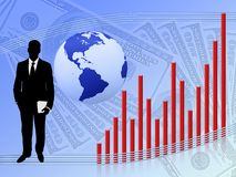 Financial Growth. Illustration depicting financial growth on a blue background Stock Images
