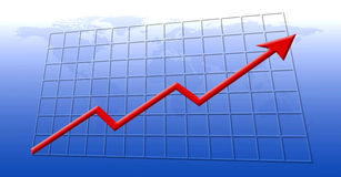 Financial growth. Chart showing financial growth, with the world as background Royalty Free Stock Images