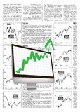 Financial growth. With fake financial news background Royalty Free Stock Images