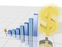 Financial growth. Cg image of a dollar sign and a graph indicating financial growth Royalty Free Stock Photography