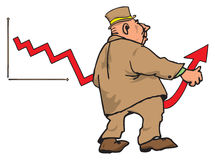 Financial growth. Figure businessman bending the arrow on the diagram in the direction of recovery Royalty Free Stock Photos