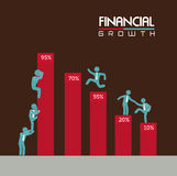 Financial growth. Over brown background vector illustration Stock Image