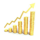 Financial growth 3d concept. Golden coins as bars rising on the graph Royalty Free Stock Images