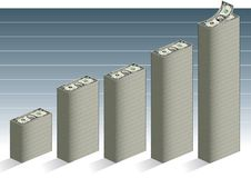 Financial Growth. A vector illustration of a bar graph made of dollar bills, depicting financial growth Stock Images